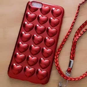😍 3D Metallic Red Bubble Hearts Case- iphone 6P